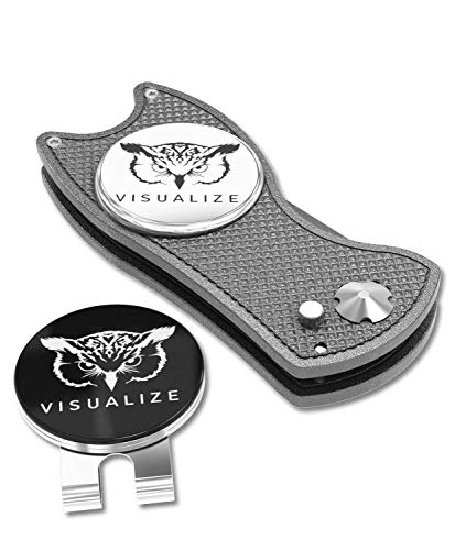 VISUALIZE Talon Plus Premium Switchblade-Style Divot Repair Tools - Golf Accessories - Golf Divot Tool with Silicone Owl Golf Ball Marker with Hat Clip - 4-in-1 Multi Tool Kit (Gun Metal Gray)