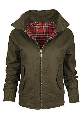 New Ladies Women's Harrington Classic Vintage Retro 1970's Zip Up Bomber Jacket Sizes XS (UK Size 6) Small (UK Size 8) Medium (UK Size 10) Large (UK Size 12) (XS (UK Size 6), Khaki)