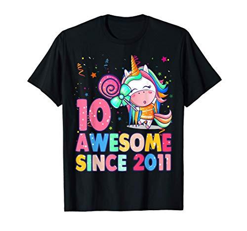 10 años de edad, décimo cumpleaños, niña unicornio Camiseta
