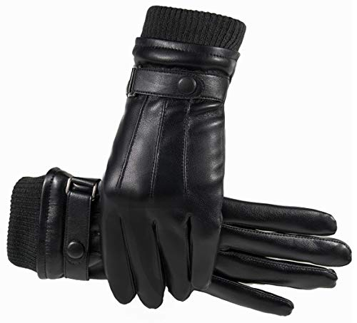 Winter Lederhandschuhe Herren Damen Paux Leader Touch Screen Warme Futter Wasserdicht Winddicht für Outdoor Fahren Motorrad Radfahren, Schwarz