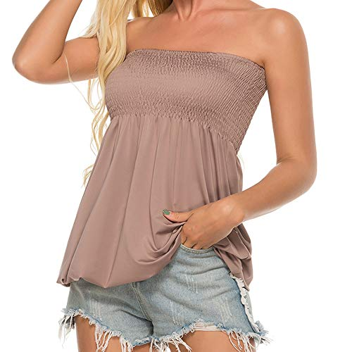 Women Sleeveless Tube Top Strapless Blouse Stretch Pleated Tunic Tanks Tops for Womens (Gray,L)