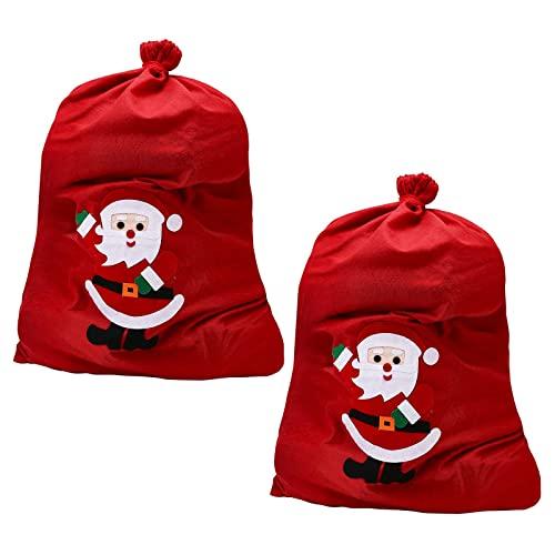 JLKDF Saco de Papá Noel Personalizado Bolsas Vintage Gigante de Navidad Saco de calcetín de Papá Noel Arpillera DIY Arpillera Yute Bolsas de Regalo Extra Grandes de Navidad (2 Piezas)