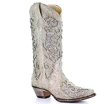 SO SIMPOK Women s Sunflower Printed Boots Chunky Heels Cowgirl Round Roe Short Boots Embroidered Boots for Women  White numeric_8