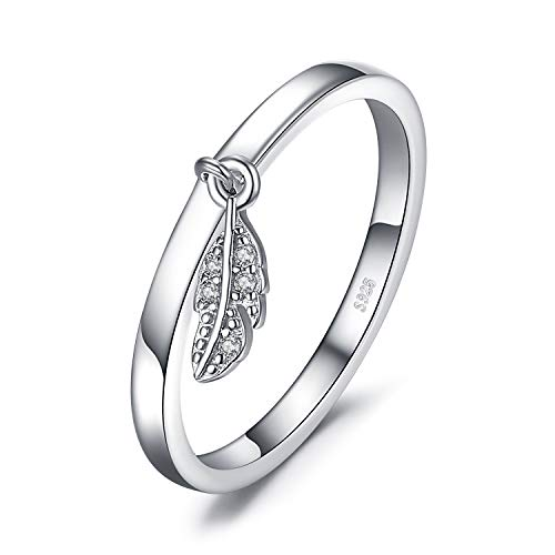 JewelryPalace Hoja Pluma encanto Anillos Mujer Plata, Anillos Plata de ley 925...