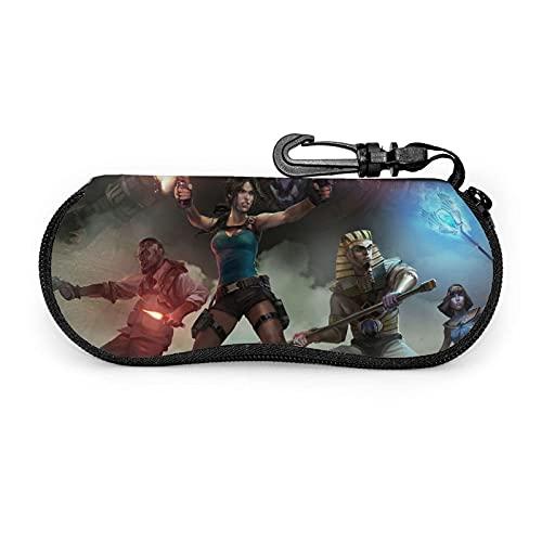 RichesY Fundas de Gafas Lara Croft Estuche blando para gafas de sol Estuche ultraligero de neopreno con cremallera y presilla para cinturón