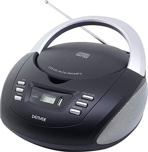 Denver TCU-211 Tragbare Stereo Boombox mit USB, FM-Radio, CD-Player und MP3-Unterstützung, Schwarz