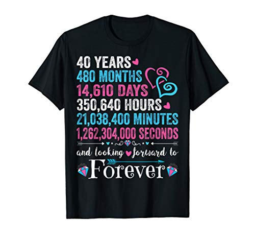 Anniversary T-Shirt Anniversary Gifts For Gay And Lesbian Couples for Years 40 to 49