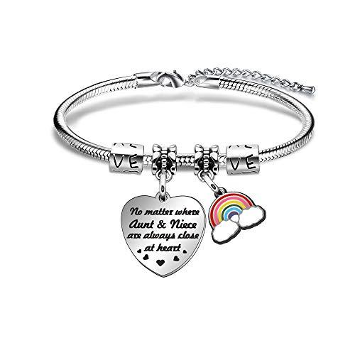 ACAROMAY - Pulsera para tía, a distancia familiar, regalo de cumpleaños, no importa donde la tía sobrina están siempre cerca del corazón.