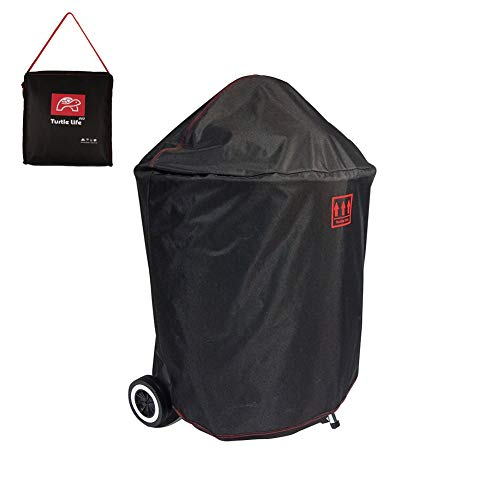 Turtle Life Round BBQ Grill Cover, 18inch Durable Waterproof Rip Resistant UV Resistant for Charcoal Kettle Grill, Dia21.6x32.6H