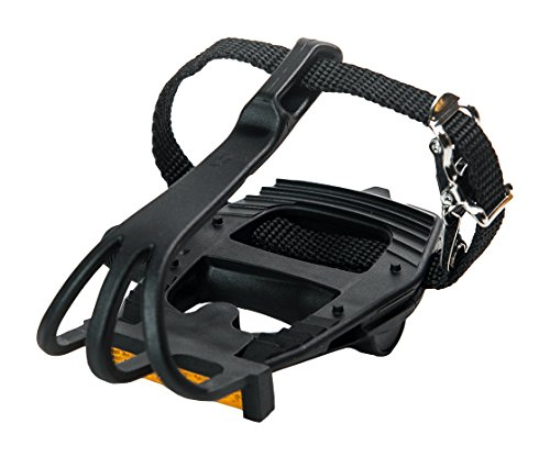 Retrospec Bicycles Classic Road Bike Pedal with Integrated Toe Cage/Clip/Strap, All Black, 9/16""
