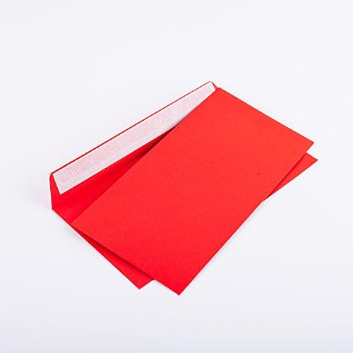 Briefumschläge DIN lang C6/5 114x229 mm rot 120 g/m² ohne Fenster haftklebend (Artikel: 206A) (100)