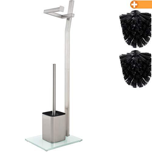 smartpeas WC-Garnitur - Mattes Chrom – 22x18x70cm – Inkl. Klopapierhalter und Toilettenbürste – Gebürsteter Edelstahl – Standfuß aus Glas mit Klobürste – Plus: 1+2 Klobürstenköpfe zum Austauschen!