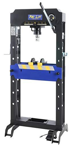 Pro-Lift-Werkzeuge Hydraulik-Presse 30t Werkstattpresse Industriepresse manuell + pneumatisch 8 Druckstücke Druckluftpresse blau Rahmenpresse Handpumpe umformen Shop-Press Abkantpresse