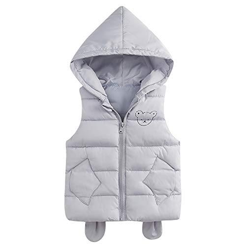 Kobay Baby Unisex Gilets, Toddler Baby Girl Boy Sleeveless Solid Hooded...