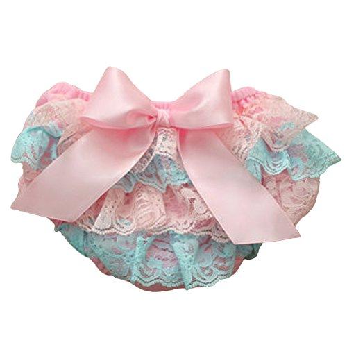 MIOIM Adorable Baby Girls Lace Satin Bloomers Ruffle Tutu Diaper Cover Short Panties