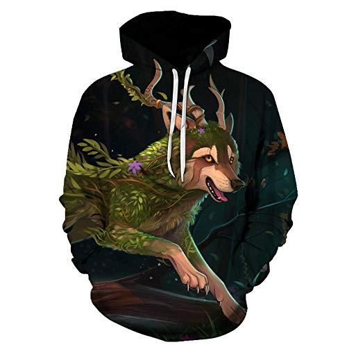 yyqx container Suéter con Capucha Zhang Horned Wolf, suéter para Hombre, suéter con Capucha, suéter con Estampado de Dibujos Animados, Sudadera Deportiva con Capucha-Color_L