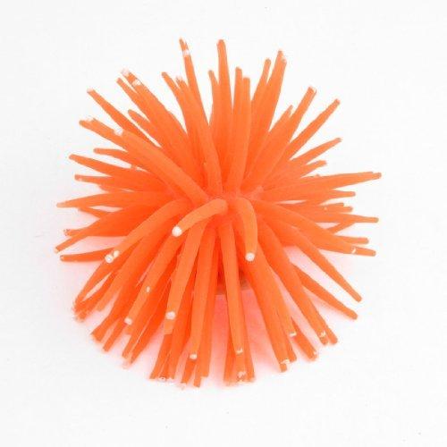 Acuario de silicona DealMux de mar artificial anémona Coral decoración, naranja