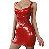 Mcaishen Mini Abito da Donna Europa E Il Vestito Sexy Hot d'Estate PU Leather Light Wrapped Chest Strap Dress Deep V Gonna Senza Maniche(M,Red)