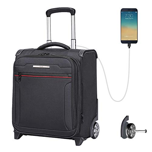 Carry On Underseat Luggage with USB Port, Underseat Suitcase with Wheels,Rolling Laptop Bag,16.5 inches Softside Airline Approved Luggage