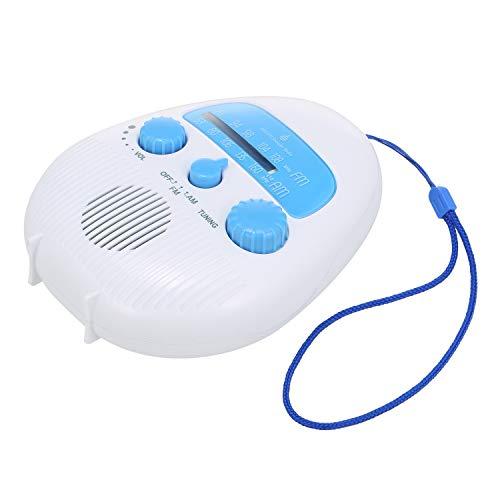 TSP Badradio FM/AM-Radio, tragbarer Mini-Duschradio, Empfänger, IPX4, wasserdicht, Badradio, eingebauter Lautsprecher mit Trageband, wasserdichter Duschlautsprecher (Farbe: Blau)
