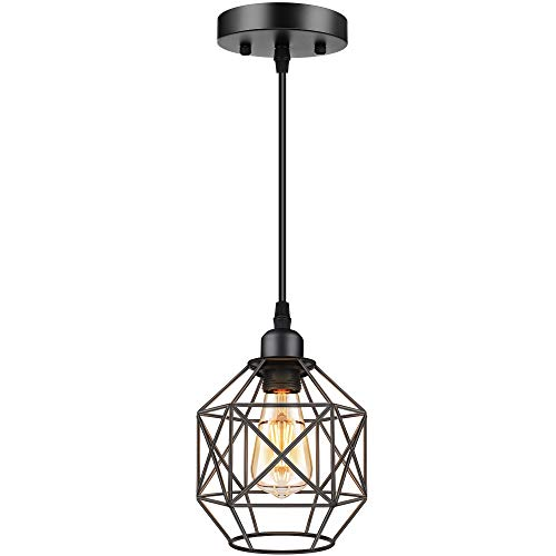 Industrial Pendant Lighting, Vintage Pendant Lights, Farmhouse Black Cage Hanging Light Fixtures, Retro Mini Rustic Metal Ceiling Lamp for Indoor Kitchen Island, Dining Room, Entryway, E26 Base,1-Pack