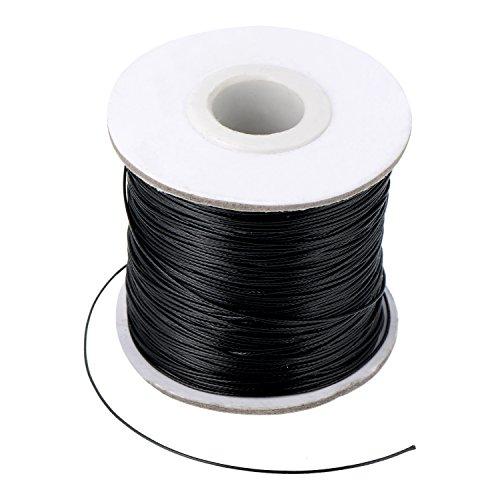 Nachahmung Leder Thread Geflochten Gewachst String, Schwarz (160 Meter, 0,5 mm Durchmesser)