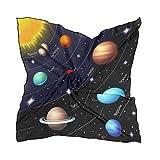 Alarge - Bufanda cuadrada de seda, con sistema solar, protector solar, ligero, suave, pañuelo para mujer, chal
