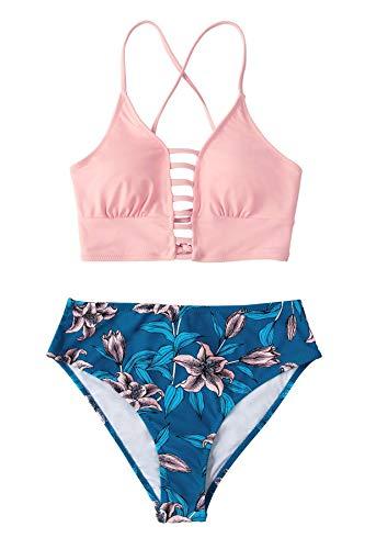 CUPSHE Damen Bikini Set mit Zierriemen Lace Up Bikini Blumenmuster Cut Out Bademode Zweiteiliger Badeanzug Rosa/Blau XXL