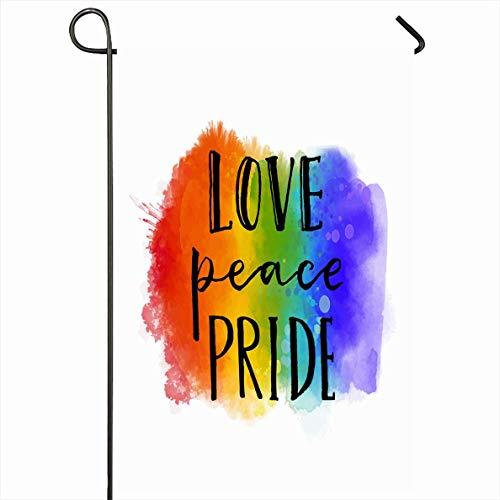 Seasonal Garden Flag,Frase del Problema De Amor Paz En El Orgullo Desfile Gay Lema Signos Símbolos Miscelánea Caligrafía Queer Banderas Encantadoras De La Casa,32x45.7cm