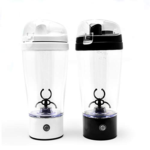 KNIGHT Portable Shaker Mixer Battery Operated Leak Proof Cocktail Coffee Formula Protein Shaker, 450ml (Black&White)