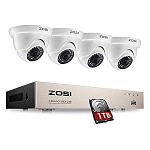 ZOSI 4 Channel H.265+ 1080P Home CCTV Security Camera Systems with 1TB Hard Drive 2MP DVR with 4 Cameras 1080P Motion Detection Kits Outdoor Surveillance