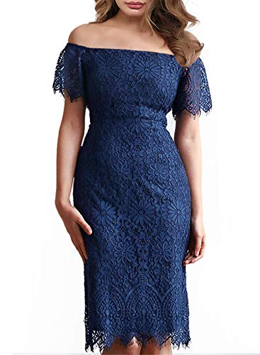 Women's Elegant Vintage Floral Lace Off Shoulder Evening Cocktail Party Wedding Pencil Dress 929