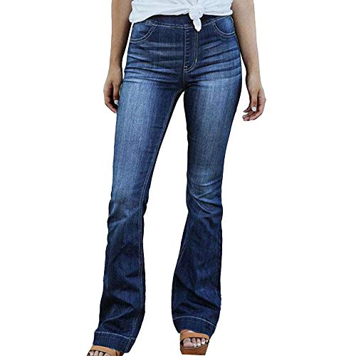 Women's Juniors Mid Waist Skinny Jeans Classic Elastic Waist Bootcut Jeggings Fashion Pull-On Stretchy Flared Bottom Washed Denim Pants with Pockets,Blue,TAG 3XL(Fits Like US 2XL)