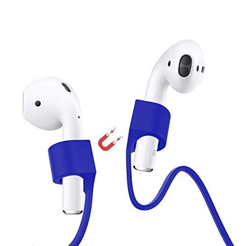 Amial Europe - Correa Magnética Compatible con AirPods [Longitud Extra 70cm] Strap Anti-perdida Cordaje Protector para Auriculares Inalámbricos Bluetooth (Azul)
