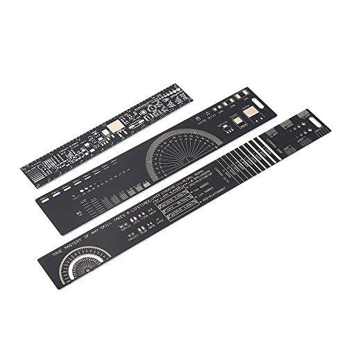 MUKUAI22 1Set 15cm 20cm 25cm Multifunctional PCB Ruler Measuring Tool Resistor Capacitor Chip IC SMD Diode Transistor Package 180 Degrees DIY