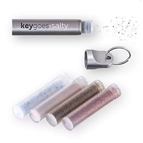 Keygoes:Salty Edelstahl Schlusselanhanger - Salzstreuer | Kommt mit Exclusiv salz Nachfullungen | Unvergleichliches Gadget/Schlusselring & Geschenk, Gadget