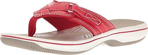 Clarks Women's Breeze Sea Flip-Flop, New Red Synthetic, 8