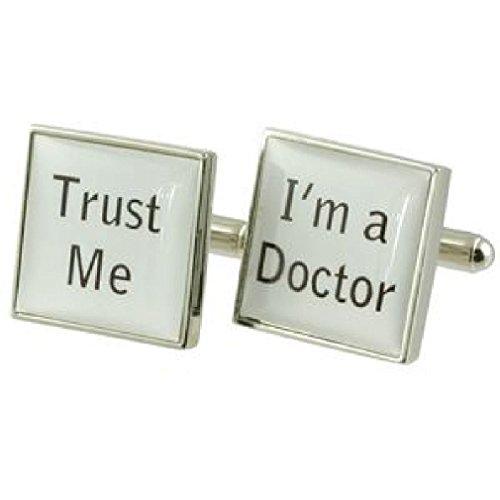 Select Gifts Trust Me I'm the Doctor NHS Design lourde solide Argent sterling 925 Boutons de manchette + cadeau personnalisé Message Boîte à boutons d