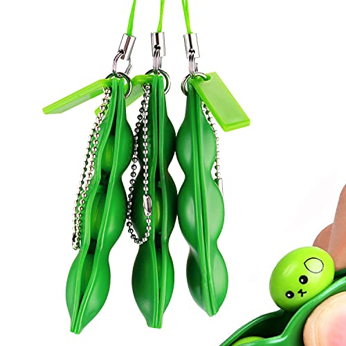 ASSBABY Fidget Toys - Funny Facial Expressions Squeeze Bean Fidget Toy,Gift for Children and Adults Release Stress and Anxiety, Soybean Stress Relieving Chain Toys (3pcs)