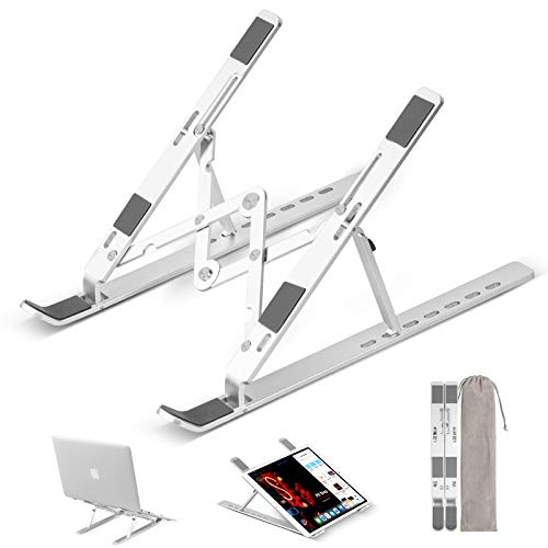 Arviny Laptop Stand, Portable Aluminum Laptop Computer Stand Tablet Stand, Ergonomic Adjustable Laptop Cooling Desk Holder 7-Levels Notebook Riser Tray Compatible with 10-15.6' Laptop Tablet (Silver)