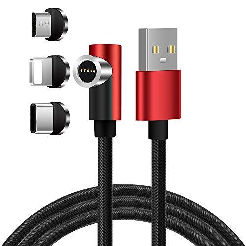 LAMA Cavo di Ricarica Magnetico, [1.5M] 90 Gradi Cavo Magnetico 3 in 1 Cavo Multi USB per Ricarica Rapida e Sincronizzazione Dati Compatibile Micro USB/Lighten/Tipo C Smartphone Rosso