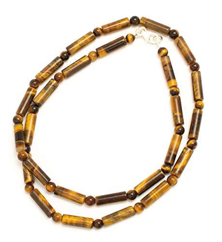 Kimaya - Collar para hombre artesanal con piedras semipreciosas, ojo de tigre, plata 925, protección