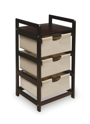 Wooden Hamper/Storage Organizing Unit with 3 Cloth Drawers
