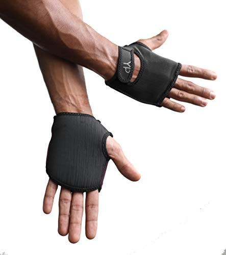 YogaPaws Elite Padded Yoga Gloves for Women and Men, Non Slip Cushion Grip, for Hot Yoga, Vinyasa, Pilates, Barre, SUP, Travel, and Sweaty Hands, Classic Black, Size 2