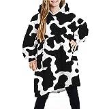 Natsuki Children Milk Pattern Long Wearable Blanket Sherpa Hoodie Oversized Sweatshirt with Pockets and Sleeves TW001