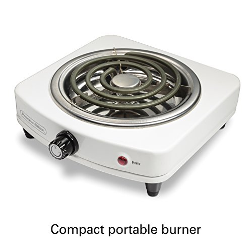 Proctor Silex 34103 Electric Single Burner, Compact and Portable, Adjustable Temperature Hot Plate, White & Stainless