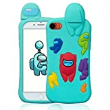 Oqplog Case for iPhone 7/8/6S/6/SE 2020 Cartoon Cute 3D Kawaii Fun Blue Amongs Kids Design Silicone Cover,Cool Funny Fashion Character Cases for iPhone 7/8/6S/6/SE 2020 4.7' Shell for Girls Boys Women