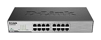 D-Link Ethernet Switch, 16-Port 10/100 Unmanaged Desktop, Fanless Rackmount Network Hub Internet (DSS-16+) (Renewed)