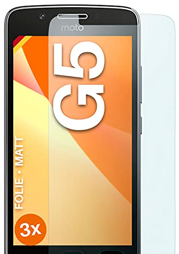 moex Protector de pantalla mate compatible con Moto G5 - Película contra reflejos, protector de pantalla antirreflectante, 3 piezas