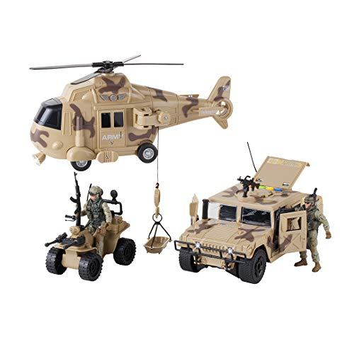 Dazmers Military Action Figures and Vehicles Set - Army Helicopter Toy, Military Truck, Army Quadrobike, 2 Military Action Figures - Lights and Sounds Vehicles - Friction Powered Army Trucks